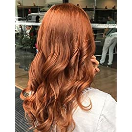 BLUPLE Natural Wavy Lace Front Wigs Copper Red #350 Heat Resistant Synthetic Hair Half Hand Tied Wig Free Part for Women