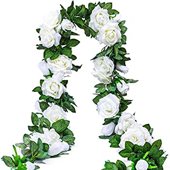 PARTY JOY 6.5Ft Artificial Rose Vine Silk Flower Garland Hanging Baskets Plants Home Outdoor Wedding Arch Garden Wall Decor,2PCS (White)