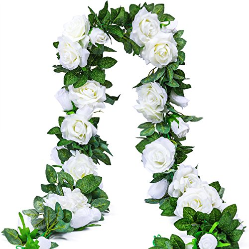 (PARTY JOY 6.5Ft Artificial Rose Vine Silk Flower Garland Hanging Baskets Plants Home Outdoor Wedding Arch Garden Wall Decor,2PCS (White))