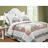 3 Piece Vintage Green Pink White Queen Quilt Set, Floral Patchwork Themed Bedding Shabby Chic Contemporary Classic French Country Cottage Antique Cabin Beautiful Flower Vine Elegant, Cotton