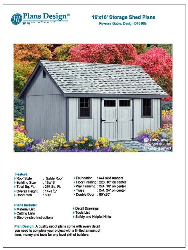 Do-it-Yourself Patterns, Storage Shed Plans 16' x 16' Reverse Gable Roof Style Design # D1616G