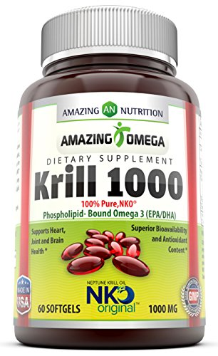 Nutrition étonnant - NKO® huile de krill Neptune 1000 Mg - tirées exclusivement de krill Espèces de récolte durable en vertu des normes réglementaires plus strictes dans les océans de l'Antarctique. Riche en acides gras l'oméga-3, EPA et DHA & Antioxydant