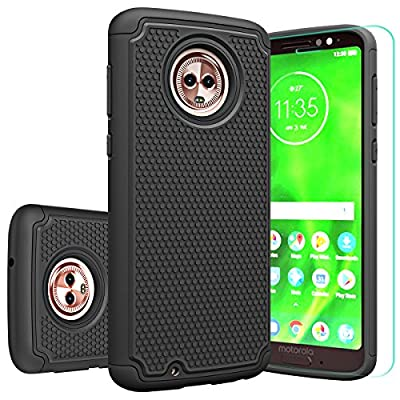 Moto G6 Case, Moto G(6th Generation) with HD Screen Protector Huness Durable Armor and Resilient Shock Absorption Case Cover for Motorola Moto G6 Phone by Huness