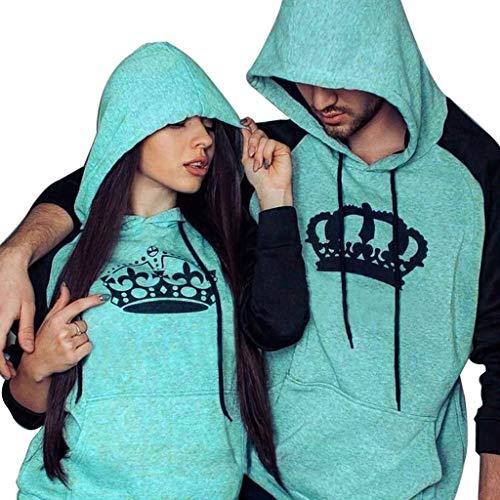 Women Men Print Long Sleeve Hoodies Sweatshirt Couple Shirt Tops Blouse with Pocket (Men, M)