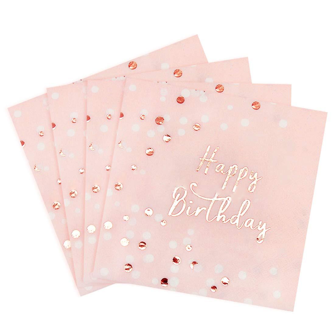 Servilletas de papel de cumpleaños con lunares dorados ...