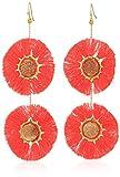 Panacea Women's Pink Fringe Drusy Double Circle Drop Earrings