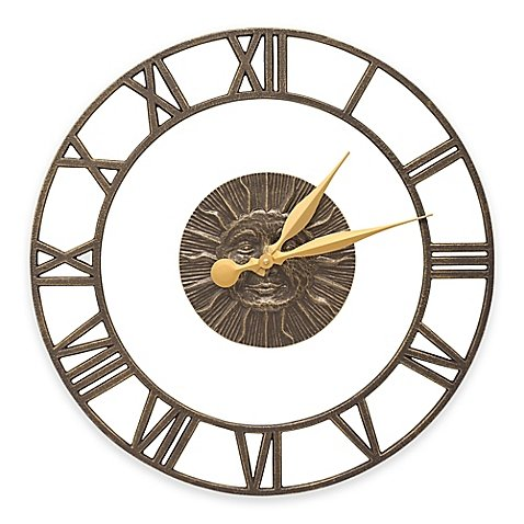 Whitehall Products Sunface Floating Ring Indoor/Outdoor Wall Clock in French Bronze - Floating Ring Clock