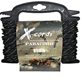 X-CORDS Paracord 850 Lb Stronger Than 550 and 750 Made by Us Government Certified Contractor (100' Black Diamond Kevlar ON Spool)