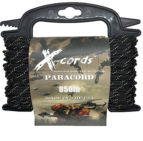 X-CORDS Paracord 850 Lb Stronger Than 550 and 750 Made by Us Government Certified Contractor (100' Black Diamond Kevlar ON Spool) ()