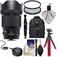 Sigma 85mm f/1.4 ART DG HSM Lens with USB Dock + Backpack + Flex Tripod + 2 (UV/CPL) Filters + Kit for Canon EOS Digital SLR Cameras