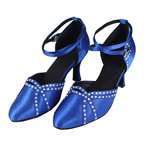 GUOSHIJITUAN Mujer S Blue El Diamante Zapatos De Baile Latino,Satén Fondo Blando Tacón Alto Salsa Tango Zapatos De Baile Social A