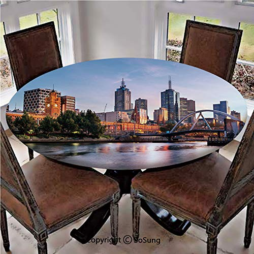 Elastic Edged Polyester Fitted Table Cover,Early Morning Scenery in Melbourne Australia Famous Yarra River Scenic,Fits up 40