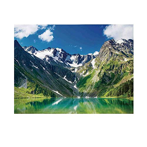 Landscape Photography Background,Majestic Lake in Altai Mountains Snowy Peaks Wooded Skirts Sky Backdrop for Studio,5x3ft