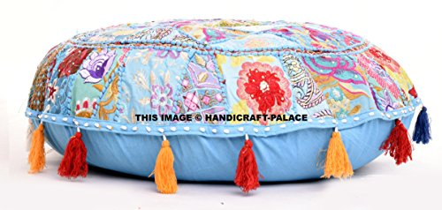 Round Floor Pillow Cover , Floor Cushion Bohemian Patchwork Floor Cushion Pouf Ottoman Vintage Indian Foot Stool Bean Bag Floor Pillow Pouf, Home Decor, Living Room Ottoman, Bohemain Pillow Cover by Handicraft-Palace