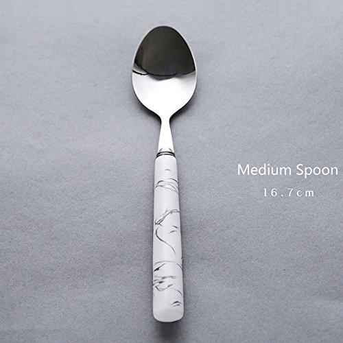 FREELOVE Nordic Geometry Ceramic Handle 304 Stainless Steel Spoons Forks Whisk Shovel Ladle Steak Knife Flatware Sets of 6 (Medium Spoon 16.7cm, Marble (Spoon Fork Ladle)