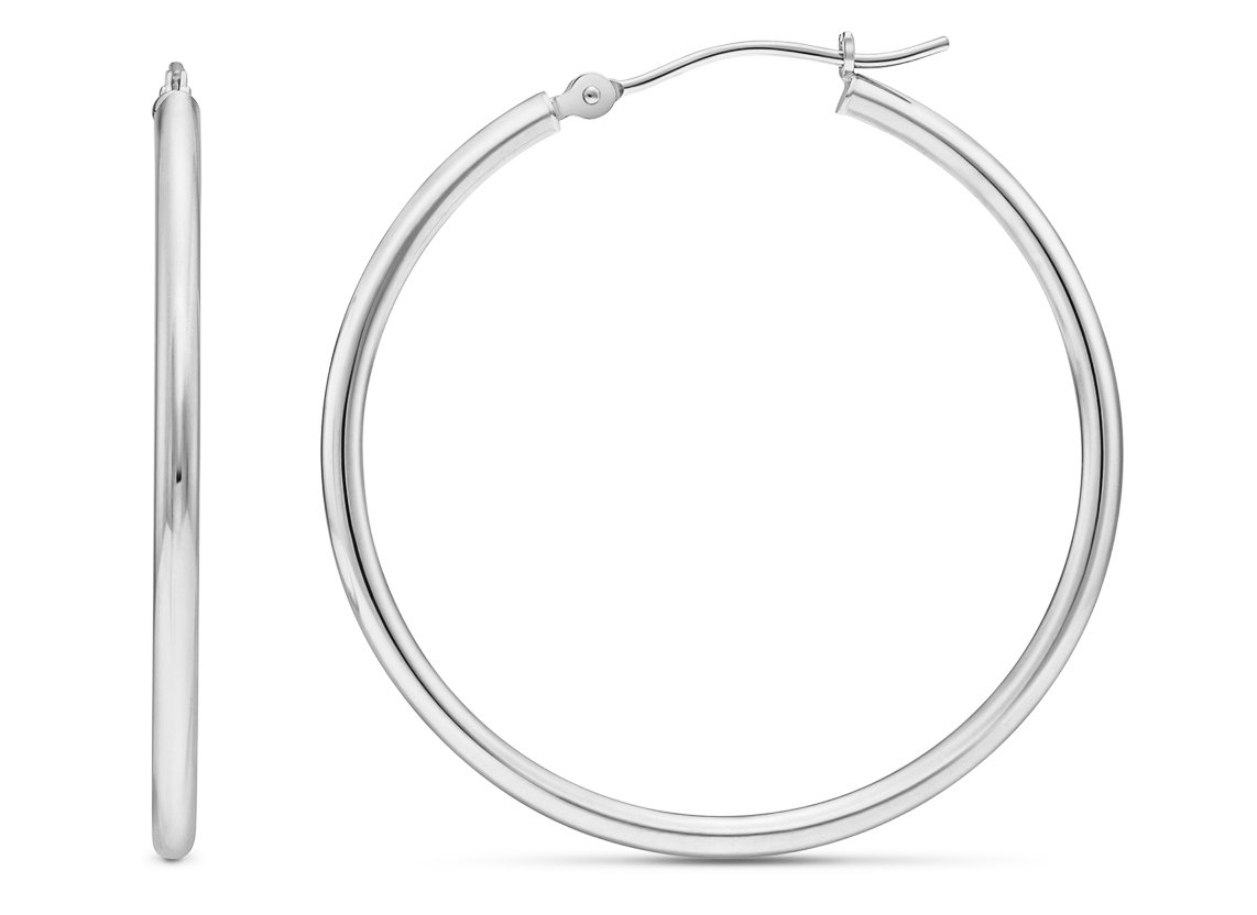14k White Gold Polished Round Hoop Earrings, 35mm (1.4 inch Diameter)
