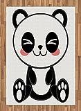 Anime Area Rug by Ambesonne, Cute Cartoon Smiling Panda Fun Animal Theme Japanese Manga Kids Teen Art Print, Flat Woven Accent Rug for Living Room Bedroom Dining Room, 5.2 x 7.5 FT, Black White Gray