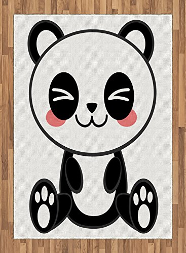 Anime Area Rug by Ambesonne, Cute Cartoon Smiling Panda Fun Animal Theme Japanese Manga Kids Teen Art Print, Flat Woven Accent Rug for Living Room Bedroom Dining Room, 5.2 x 7.5 FT, Black White Gray by Ambesonne