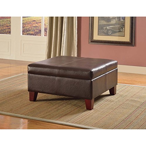 Metro Shop Luxury Large Brown Faux Leather Storage Ottoman T