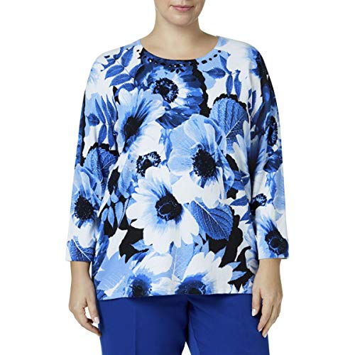 Alfred Dunner Plus Size Floral Sweater 1X
