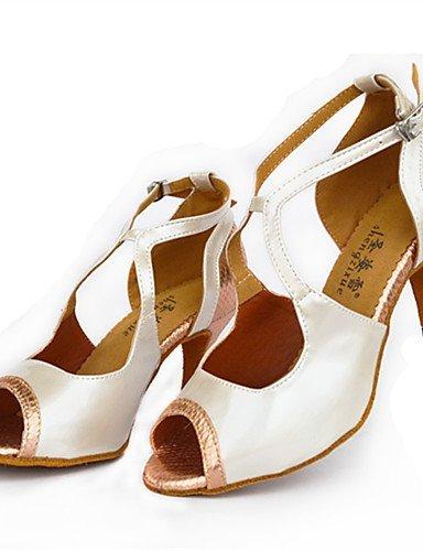 ShangYi Chaussures de danse(Rouge / Blanc / Or) -Personnalisables-Talon Aiguille-Cuir-Latine / Moderne White
