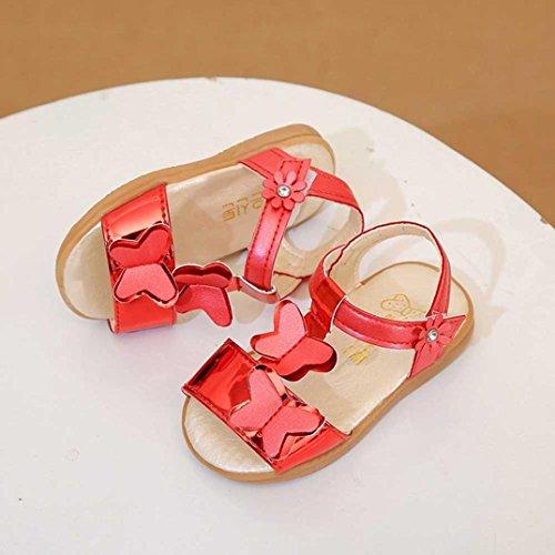 Clode® Kinder Mädchen Bowknot Rutschfeste Sandalen Sneaker Pricness Casual Einzelne Schuhe Rot
