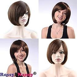Rossy&Nancy Glueless Short Bob Mono Lace Net Brazilian Virgin Human Hair Wigs for Black Women with Side Bangs Brown Color 10inch