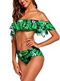 Avidlove Women Two Pieces Off Shoulder Bikini Set Ruffle Flounce Swimwear Crop High Waist Swimsuit Green Large