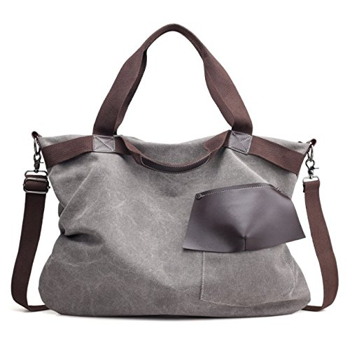 xiaoxiongmao 2017 Large Pocket Casual Women's Shoulder Cross body Handbags Canvas Leather Bags canvas tote bag (style 2, Gray)