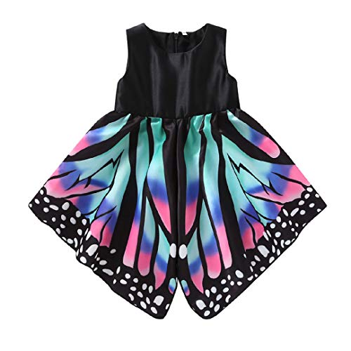 Butterfly Costumes For Babies (GUMEMO Toddler Kids Baby Girl Sleeveless Butterfly Wings Skirt Dress Outfit Clothes Costumes (Multicolor,)