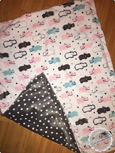 Hippos & Polka Dots Minky Blanket