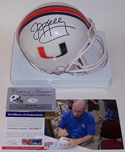 Jim Kelly Autographed Hand Signed Miami Hurricanes Mini Football Helmet - PSA/DNA