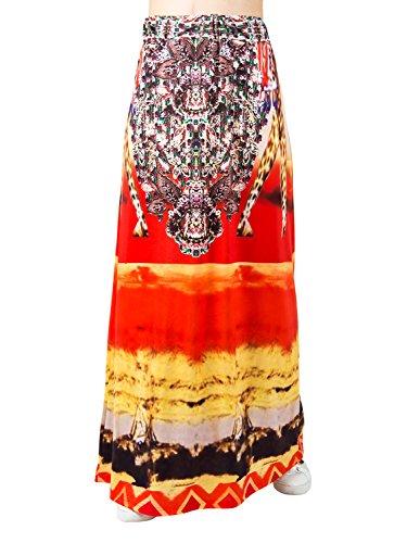 Choies Women's African Print Long Maxi Skirt w Drawstring Waist