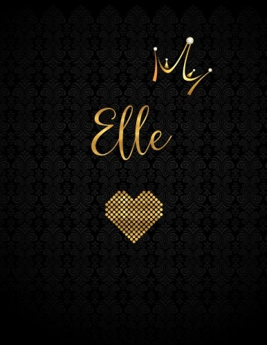 Elle: Personalized Black XL Journal with Gold Lettering, Girl Names/Initials 8.5x11, Journal Notebook with 110 Inspirational Quotes, Journals to Write In for Women (Notebooks and Journals)