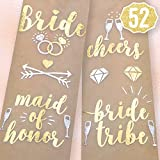 Toys : Bachelorette Party Flash Tattoos - Bride Tribe, Maid of Honor + 52 Styles (2 sheets) - Bridal Shower Favor and Decorations