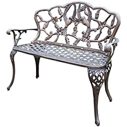 Oakland Living Hummingbird Cast Aluminum Loveseat Bench, Antique Bronze