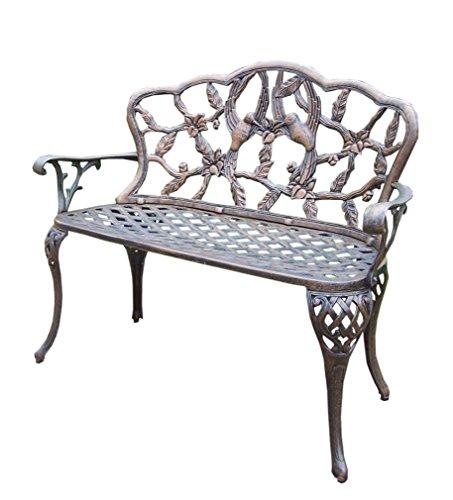 Oakland Living Hummingbird Cast Aluminum Loveseat Bench, Antique Bronze 36h Seat