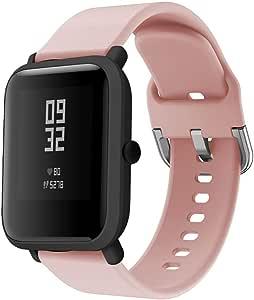 DIPOLA Correas de Reloj de Repuesto de Silicona para Xiaomi Huami Amazfit Bip Youth Watch—Rosado: Amazon.es: Relojes