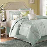 Madison Park Athena 7 Piece Jacquard Comforter Set, Queen, Green