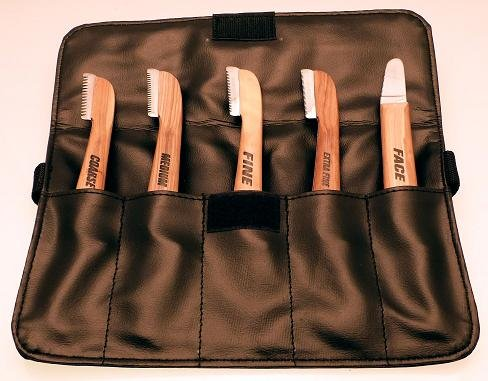 Aaronco Set of 5 Dog Stripping Knives in leather case