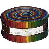 Robert Kaufman Fabrics RU-232-41 Kona Cotton Solids New Dark Roll Up 41 2.5-inch Strips Jelly Roll