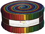 Robert Kaufman Fabrics RU-232-41 Kona Cotton Solids New Dark Roll Up 41 2.5-inch Strips Jelly Roll