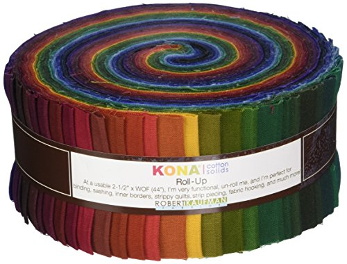 - Robert Kaufman Fabrics RU-232-41 Kona Cotton Solids New Dark Roll Up 41 2.5-inch Strips Jelly Roll