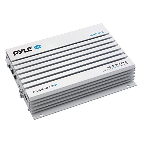 Pyle Upgraded Hydra Marine Amplifier - Elite Series 400 Watt 2 Channel Bridgeable Audio Ampli - Waterproof, Dual MOSFET Power Supply, GAIN Level Controls, RCA Stereo Input & LED Indicator - PLMRA210BT (Power 2 Bridgeable Ch Amp)