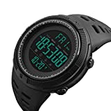 Mens Digital Sports Watch, Military Waterproof Watches Fashion Army Electronic Casual Wristwatch with Luminous Calendar Stopwatch Alarm LED Screen - Black