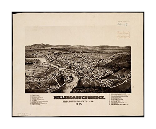 1884 Wall Map Hillsboro Hillsborough-Bridge, Hillsborough County, N.H: 1884 Bird's-eye view.Indexed for points of interest.Hillsborough New Hampshire|Ready to Frame|Historic Antique Vintage - Outlet Hillsboro