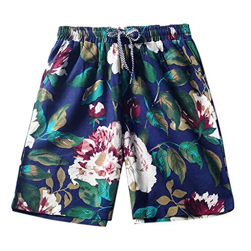 Men's Summer Linen Quick Dry Shorts Elastic Waist Shorts Sports Beach Shorts Green ()