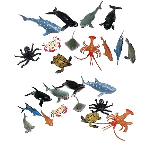 Fun Central AZ919 2 Packs 12 Pieces 4 Inch Ocean Sea Animals Toy Figure, Assorted Sea Creature Toys, Plastic Ocean Animal Toys Set