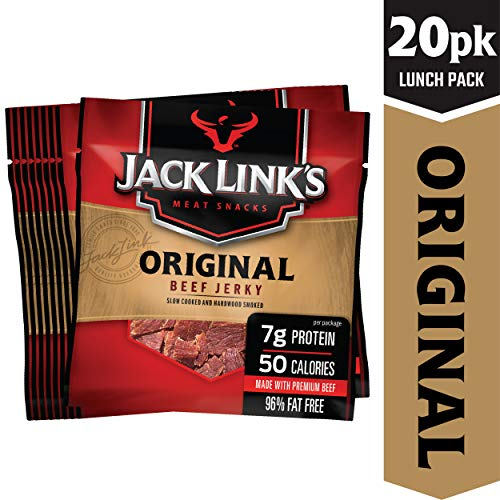 Jack Link's Beef Jerky 20 Count Multipack, Original, 20, .625 oz. Bags - Flavorful Meat Snack for Lunches, Ready to Eat - 7g of Protein, Made with 100% Beef - No Added MSG or Nitrates/Nitrites ()