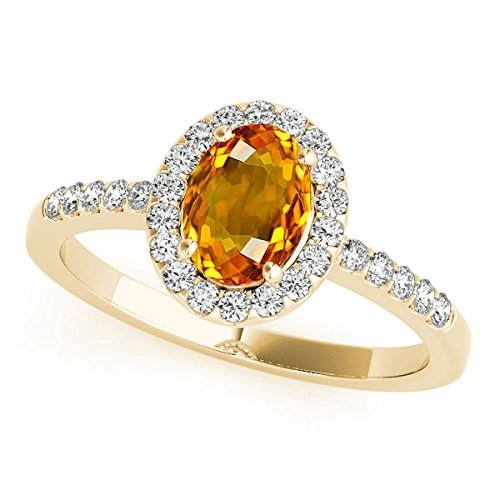 Oval Ring Citrine Shaped (2.45 Ct. Ttw Diamond and Oval Shaped Citrine Ring in 10K Yellow Gold)